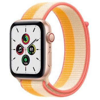 Apple Watch SE, GPS+Cellular 44 mm - Dourado, bracelete Loop desportiva Milho/Branco