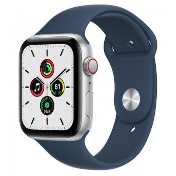 Apple Watch SE, GPS+Cellular 44 mm - Prateado, bracelete desportiva azul abissal