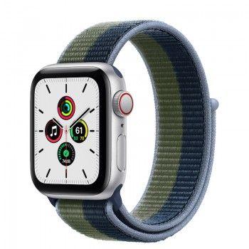 Apple Watch SE, GPS+Cellular 40 mm - Prateado, bracelete Loop desportiva Azul A./Verde M.
