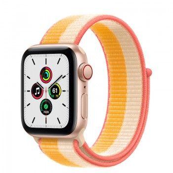 Apple Watch SE, GPS+Cellular 40 mm - Dourado, bracelete Loop desportiva Milho/Branco