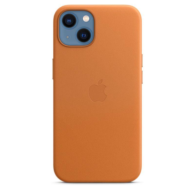 Capa em pele com MagSafe para iPhone 13 - Castanho dourado
