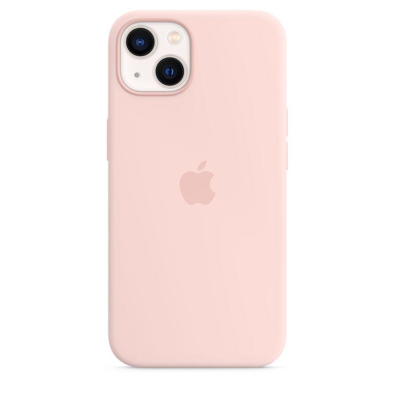Capa em silicone com MagSafe para iPhone 13 - Giz rosa