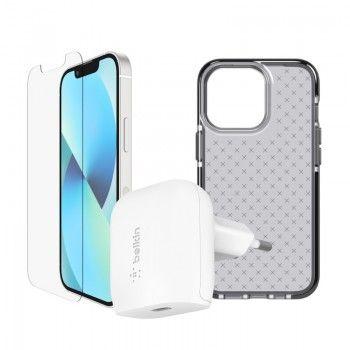 Conjunto de acessórios para iPhone 13 mini composto por capa, película e carregador de parede