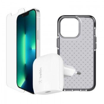 Conjunto de acessórios para iPhone 13 composto por capa, película e adaptador de corrente