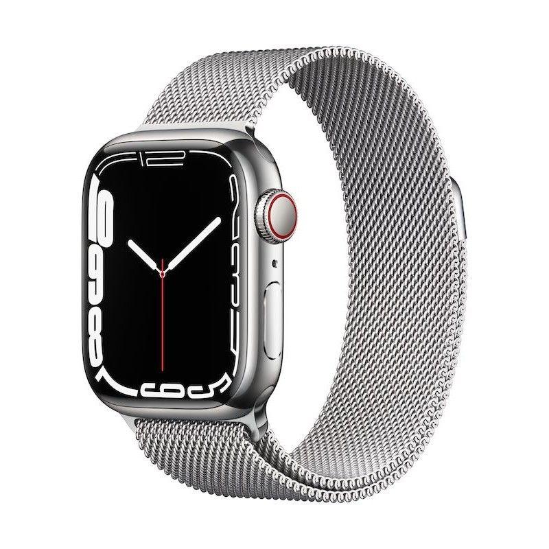 Apple Watch 7, GPS+Cellular 41 mm, aço - Prateado, bracelete milanesa prateada