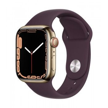 Apple Watch 7, GPS+Cellular 41 mm, aço - Dourado, bracelete desportiva cereja escura