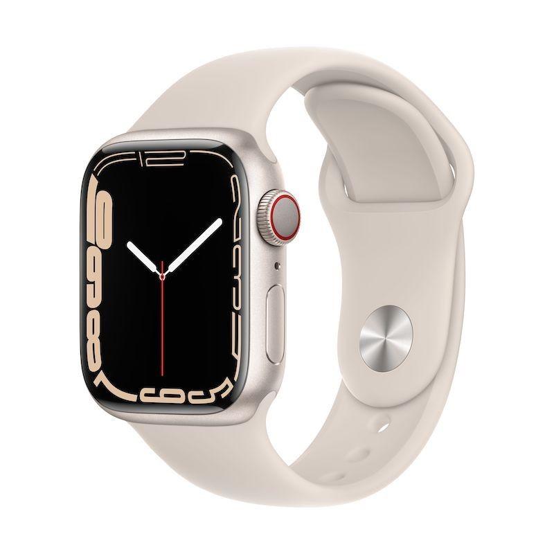 Apple Watch 7, GPS+Cellular 41 mm - Luz das estrelas, bracelete desportiva luz das estrelas