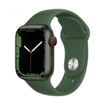 Apple Watch 7, GPS+Cellular 41 mm - Verde, com bracelete desportiva verde trevo