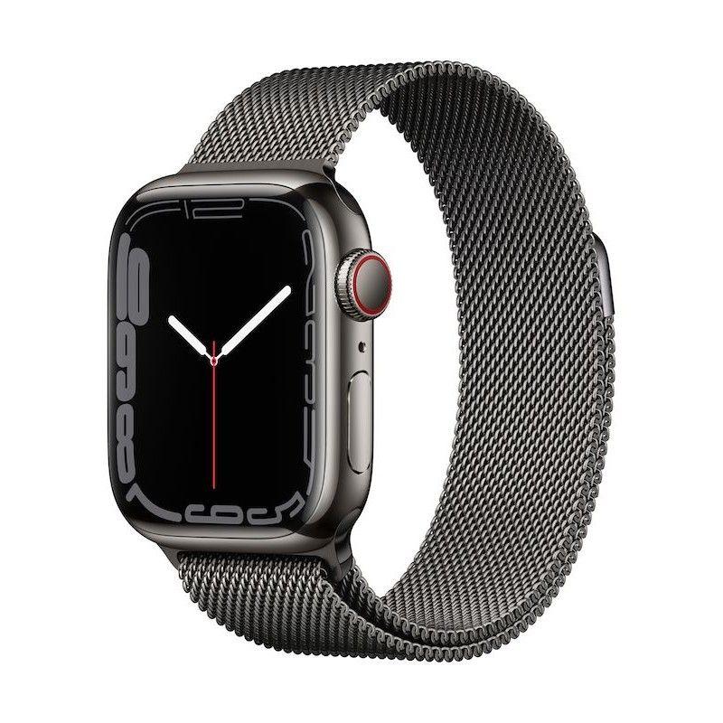 Apple Watch 7, GPS+Cellular 41 mm, aço - Grafite, bracelete milanesa grafite L