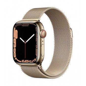 Apple Watch 7, GPS+Cellular 41 mm, aço - Dourado, bracelete milanesa dourada