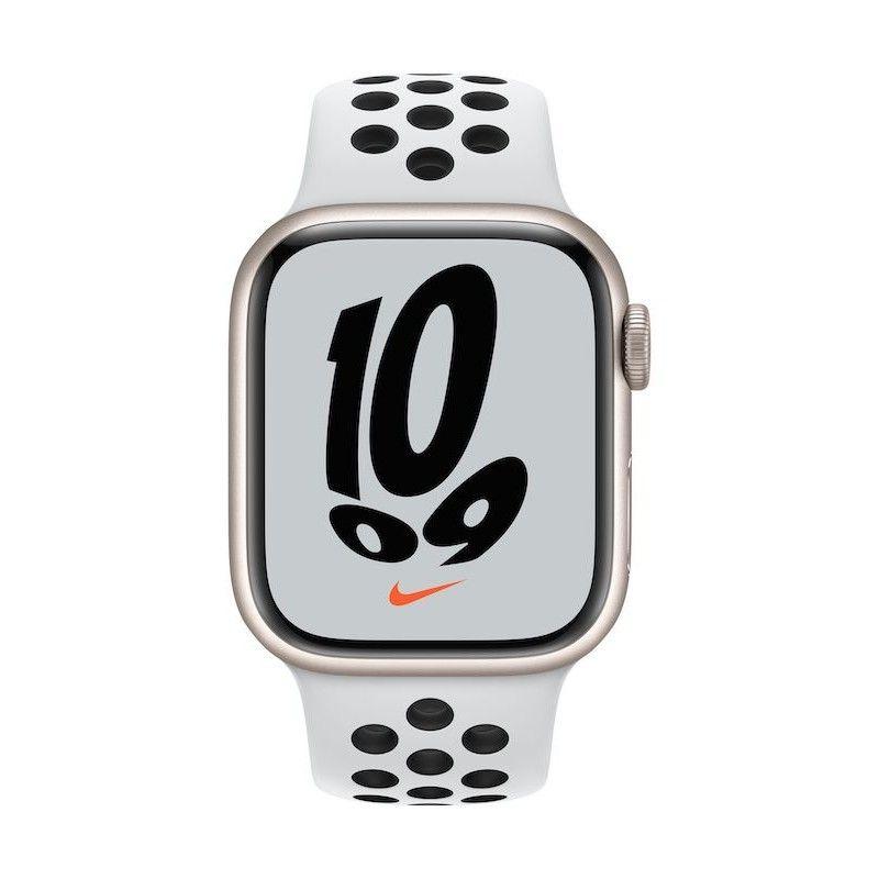 Apple Watch Nike 7, GPS+Cellular 41 mm - Luz das estrelas, bracelete platina/preto
