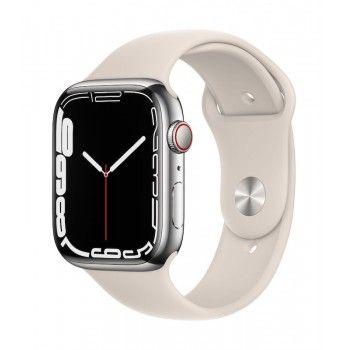 Apple Watch 7, GPS+Cellular 45 mm, aço - Prateado, bracelete desportiva luz das estrelas