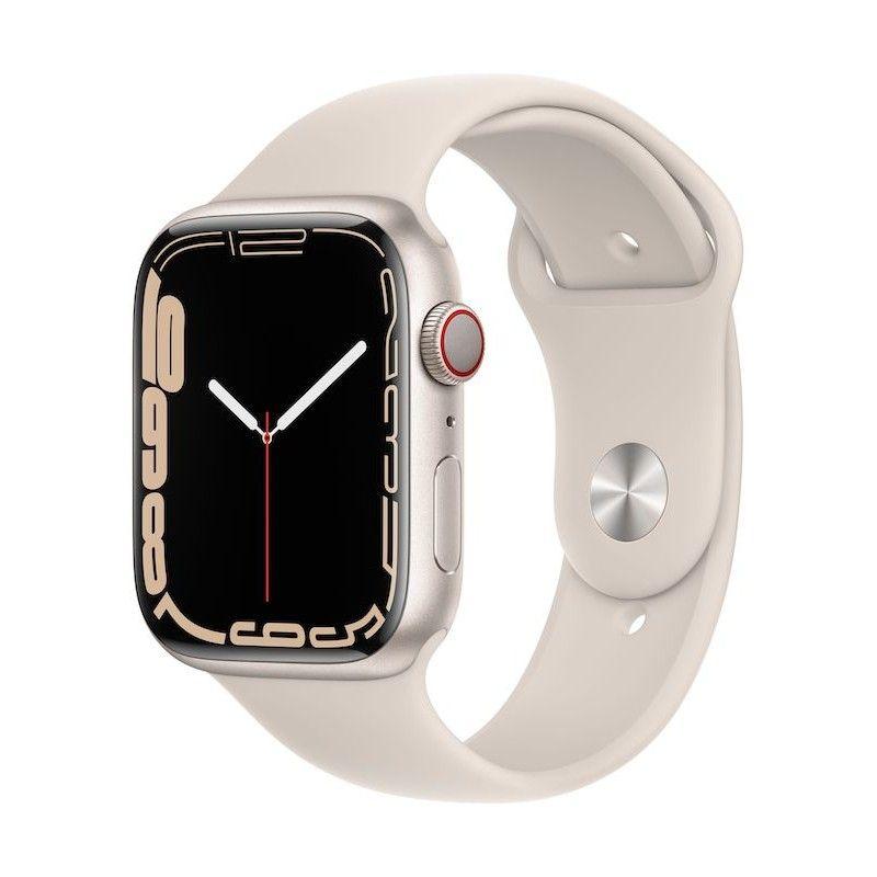 Apple Watch 7, GPS+Cellular 45 mm - Luz das estrelas, bracelete desportiva luz das estrelas