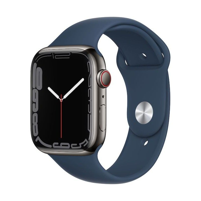 Apple Watch 7, GPS+Cellular 45 mm, aço - Grafite, bracelete desportiva azul abissal