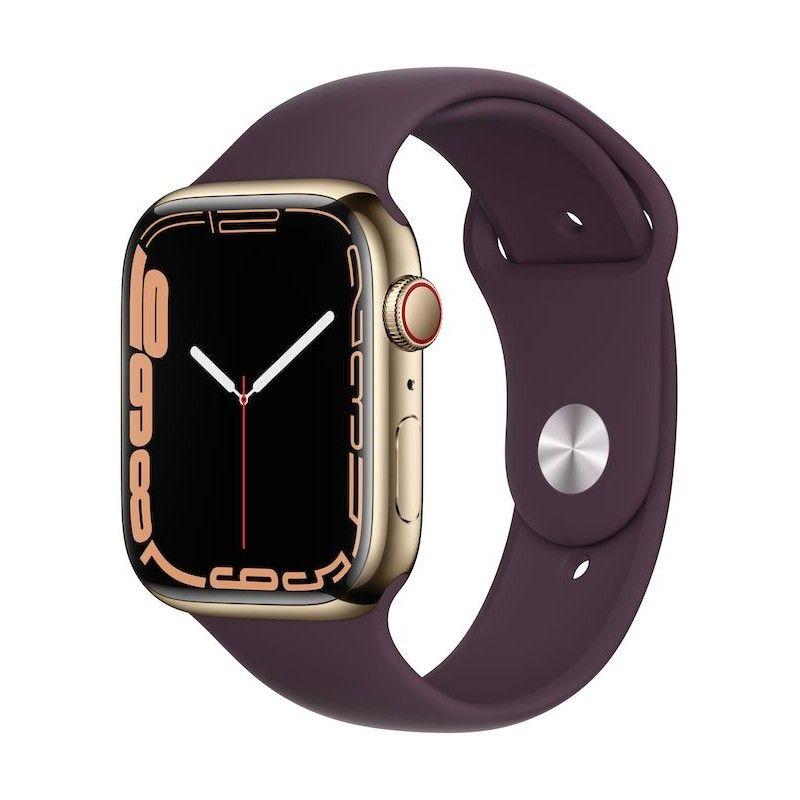 Apple Watch 7, GPS+Cellular 45 mm, aço - Dourado, bracelete desportiva cereja escura