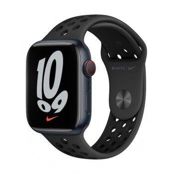 Apple Watch Nike 7, GPS+Cellular 45 mm - Meia-noite, bracelete antracite/preto