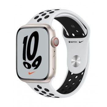 Apple Watch Nike 7, GPS+Cellular 45 mm - Luz das estrelas, bracelete platina/black