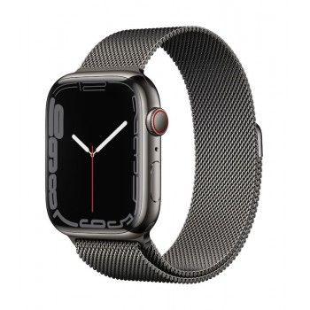 Apple Watch 7, GPS+Cellular 45 mm, aço - Grafite, bracelete milanesa grafite L