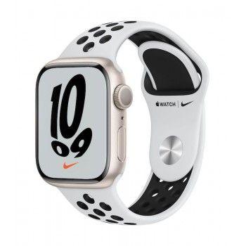 Apple Watch Nike 7, GPS 41 mm - Luz das estrelas, bracelete platina/preto