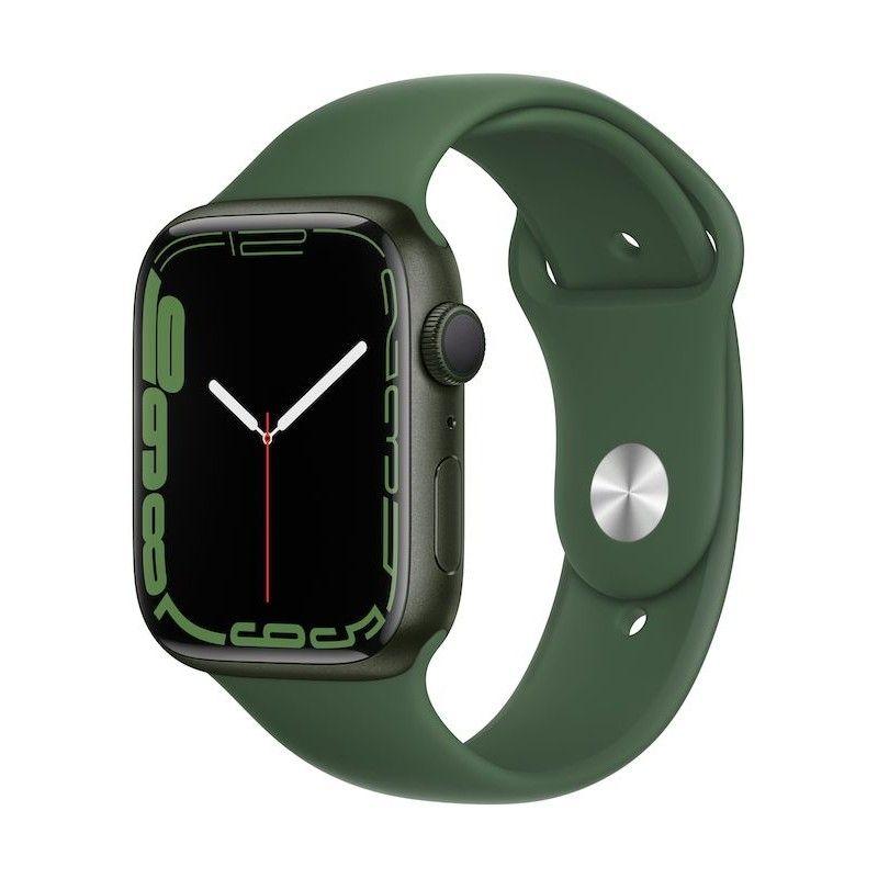 Apple Watch 7, GPS 45 mm - Verde, bracelete desportiva verde trevo