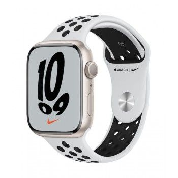 Apple Watch Nike 7, GPS 45 mm - Luz das estrelas, bracelete platina/preto