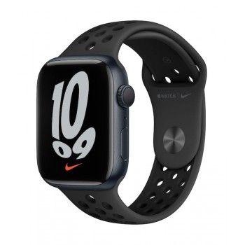 Apple Watch Nike 7, GPS 45 mm - Meia-noite, bracelete antracite/preto