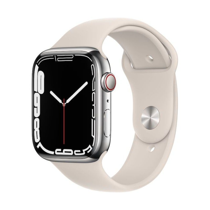 Apple Watch 7, GPS+Cellular 41 mm, aço - Prateado, bracelete desportiva Luz das estrelas