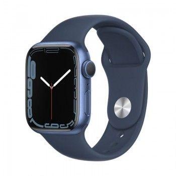 Apple Watch 7, GPS 45 mm - Azul, bracelete desportiva azul abissal